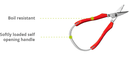 Red self opening scissors image - with features